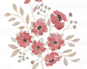 Pink and Tan Flowers - DIGITAL DOWNLOAD - Wall Art