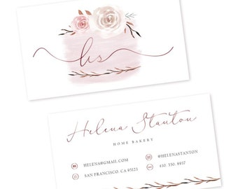 Bakery business card - watercolor business card - premade business card design - simple business card template