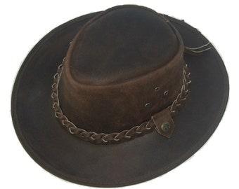 831d965500d Leather Cowboy Western Aussie Style Bush Hat Brown American Hat Cowboy Hat  Western Hat