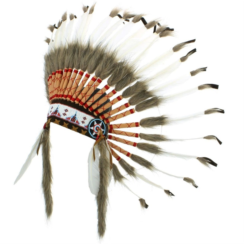 Indian Headdress Chief Feathers Bonnet Native American Gringo WHITE RED BLACK