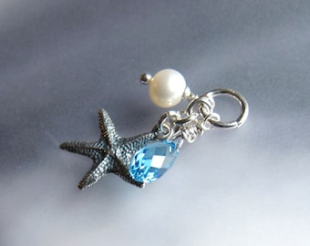 Pearl crystal and starfish beach necklace pendant Sterling silver starfish, aquamarine and freshwater pearl charms cluster DIY jewelry