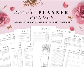 Beauty routine printable planner. Self care journal. Skincare routine. 12 Pages. A4, A5, Letter and Half letter size inserts.