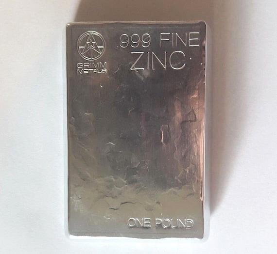 ZINC  BAR INGOT 1 POUND regular 99.9/% PURE HAND POURED-UNIQUE