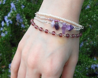 Purple Glass Bead, Amethyst, & Silver Multi-Chain Bracelet