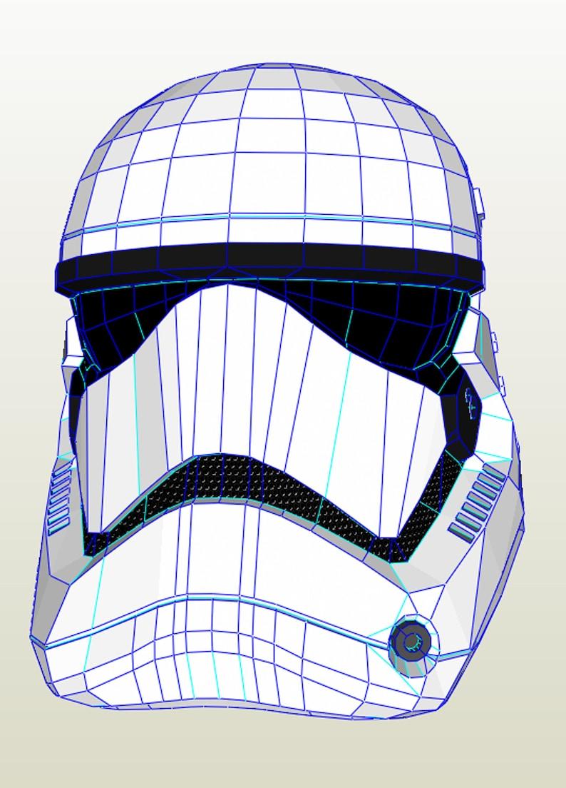 graphic about Stormtrooper Mask Printable titled Stormtrooper Helmet Do It You Do-it-yourself printable Stormtrooper mask Brain Pdf obtain Paper Mask Perakura 3D Behavior Polygon Star Wars