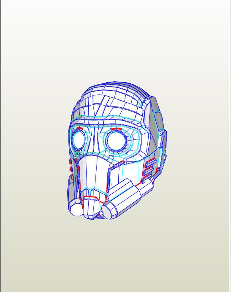 Star Lord Helmet Peter Quill Guardians Of The Galaxy Do It Yourself Diy Printable Head Pdf Download Paper Mask Perakura 3d