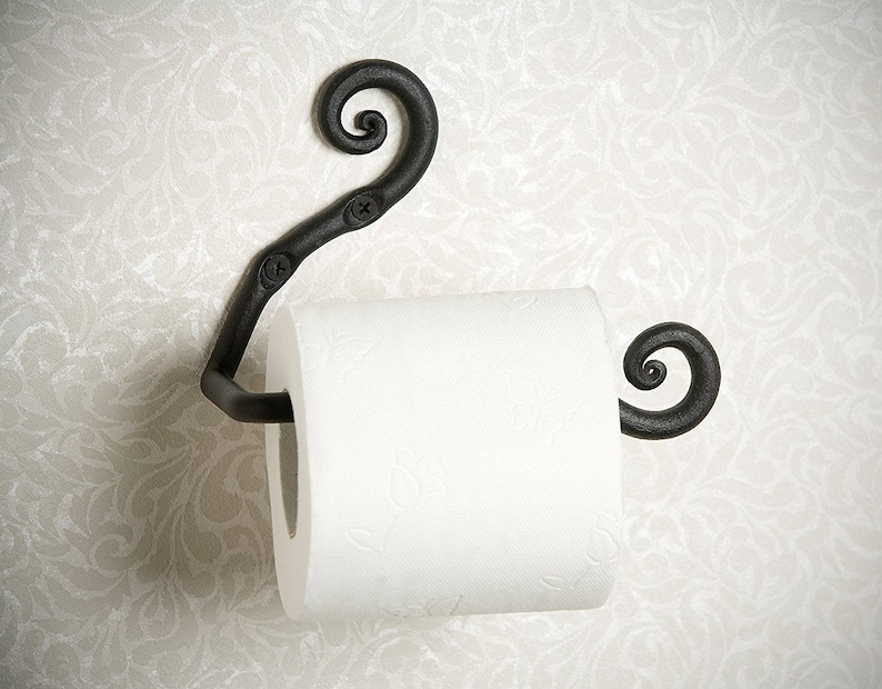 Genial Hand Forged Toilet Paper Holder, Wrought Iron Black Tp Holder, Bathroom  Accessories