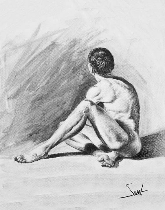 MALE FIGURE DRAWING - male model, nude art, life drawing, gift for her,  charcoal drawing, figure art print, naked man, figure study