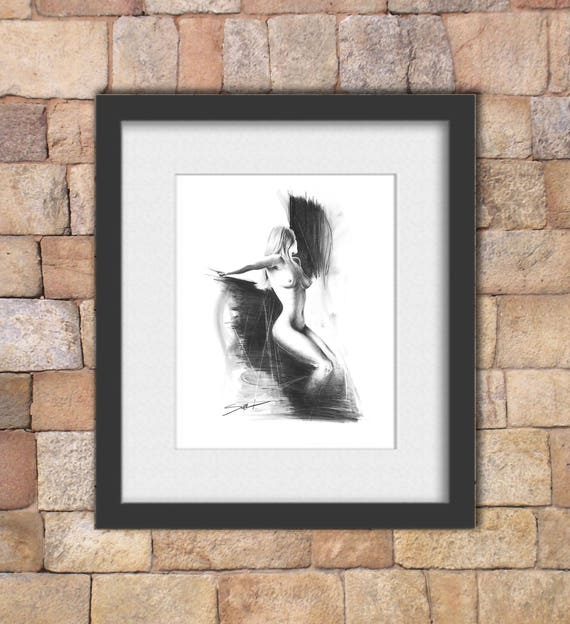 Large Art Feminist Charcoal Life Boho Eclectic Nudes Free Shipping on Custom Sizes Figure Drawings Sketch Vintage Giclee Prints