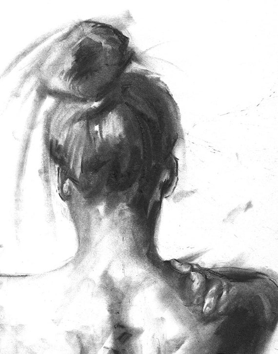 """Nude Black Woman with Braided Hair 8.5x11/"""" Photo Print Naked Lovely Lady B/&W"""
