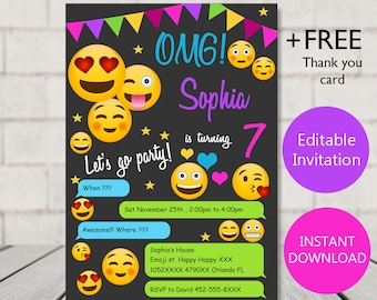 Emoji Invitation Birthday Party Girl Invites