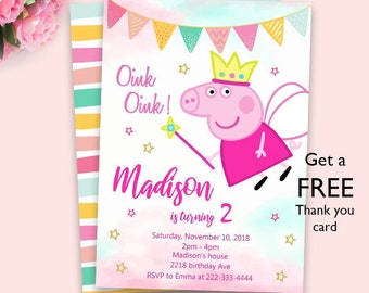 Peppa Pig Invitation Party Birthday Digital File Invite