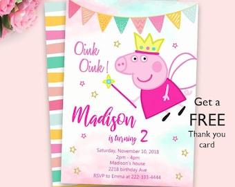 peppa pig invitation etsy