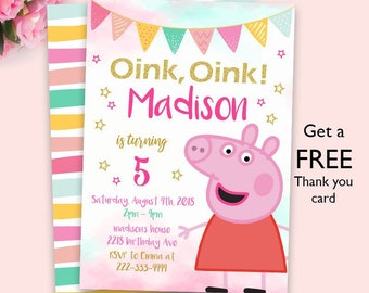 Peppa Pig Invitation Party Digital File Printable Invite Birthday