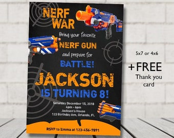 Nerf Birthday Invitation Dart Party Digital File Printable Invite