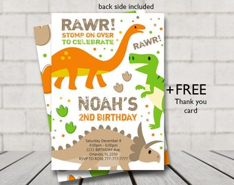 Dinosaur Birthday Invitation Party Digital File Printable Invite