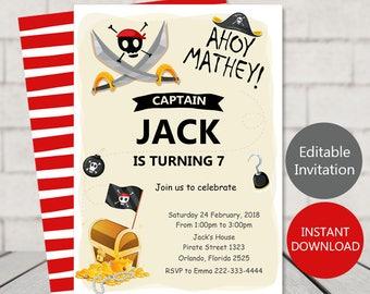 Pirate invitations etsy pirate birthday invitation pirate invitation pirates party pirate birthday printable invite editable pirate invitation digital file filmwisefo