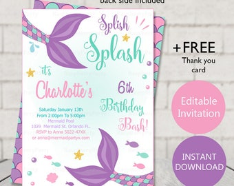 Mermaid Invite Invitation Party Birthday Purple Girl Under Sea INSTANT DOWNLOAD