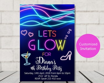 Glow Invitation Glow Party Invitation Neon Party Invitation Etsy