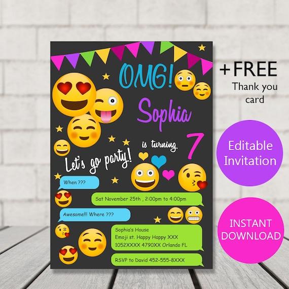 emoji invitation emoji birthday emoji party invitation emoji