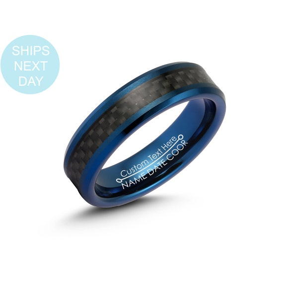 Mens 6mm Blue Tungsten Carbide Ring Black Carbon Fiber Face Etsy