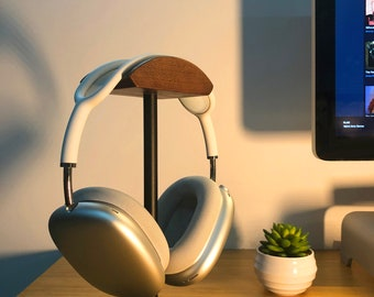Headphone Stands for Airpods Max, Made with Walnut Wood and Black Aluminum, Heavy Weight, Home Office Desk Organizer, Ship From USA