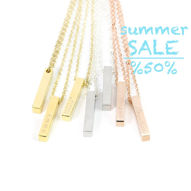 8a6e0aa374ae5 Personalized Vertical Bar Necklace, Stainless Steel Name Necklace with  Adjustable Chain, Special Gift for Her, Gift Wrapped