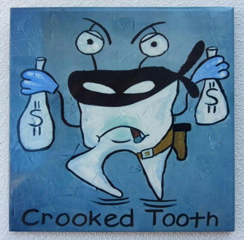 Funny souvenir tile Crooked Tooth