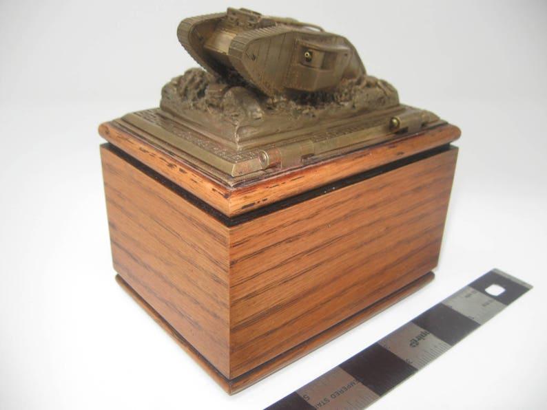 Collectible Oak box, Tank, World War One tank, commemorative brass Mark I  tank scene on hinged latching lid on oak box