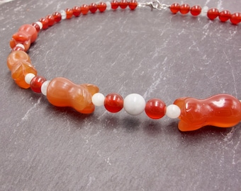 Carnelian and Aquamarine Necklace. Orange-Red and Pale Green. Flower Beads. Spring. Summer.