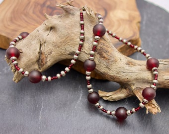Glass Beads Necklace. Red and Antique Gold. Antique Look. Gift