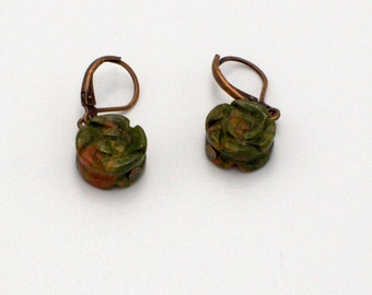 Earrings with moss-green and rose-red unakite