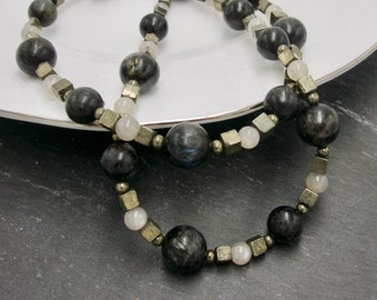 Black and White Beaded Necklace. Actinolite, Moonstone, and Pyrite Beads. Goth Jewelry. Gothic