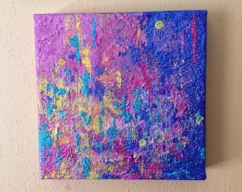 Abstract Mixed Media Painting - 8x8 - Glitter Art