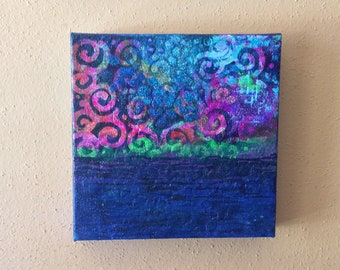 Abstract Mixed Media Painting on canvas - 8x8