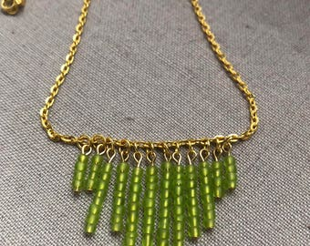 Green Beaded Gold Plated Bib Necklace