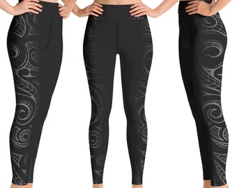 Cotton Spandex Long Boot Cut Yoga Pants Mountain Ori Active Hawaiian Tribal Tattoo Athletic Wear Workout  Clothes Kuahiwi Collection