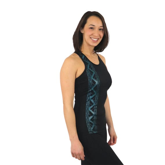 0209365914d75 Ori Active Kuahiwi Black Mesh with teal accents tattoo tank