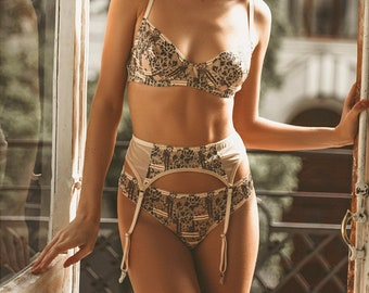 Boho beige ornamental lace lingerie set See through lace and mesh lingerie set Sheer beige mesh and beige lace bra and transparent thongs