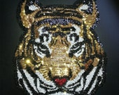 Gold Tiger Head Sequin Patch Vintage Embroidery Patch