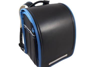 Randoseru/Japanese School satchel/Japanese School bag/backpack, black/blue 1.3 kg light!