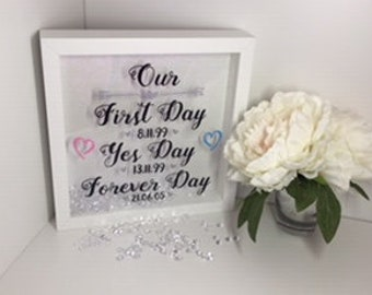 Our First Day, Yes Day, Forever Day Vinyl Box Frame
