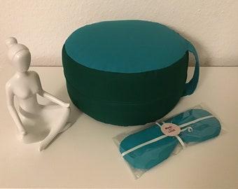 Yoga/Meditation Pillow with the Eye Pillow - Seat Pillow - Floor Pillow - Round Pillow - Cotton - Yoga Pillow - Customizable