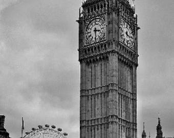 London view of the Big Ben Palace Parliament Westminster London Eye-printable photography download Instant download Wall Art Photography