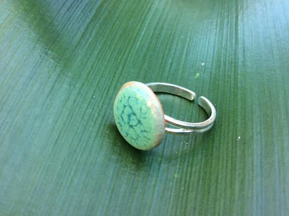 Adjustable Ceramic Ring Tidal Pool Sterling Silver