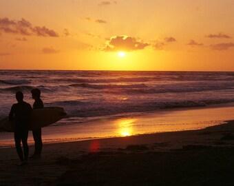 Fine Art Print, Surfers, Butterfly Beach, Santa Barbara, CA, Color, Beach, Ocean, Lifestyle, Southern California, Coastal, Waves, Sunset