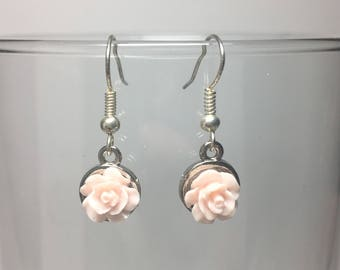 Silver Round Rose Earrings