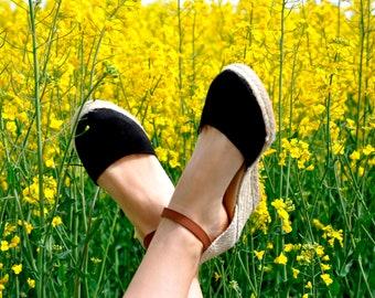 wedge sandals - black- wedges, espadrilles, wedge espadrilles, ankle strap sandal, wedge espadrilles, ankle strap wedge espadrilles