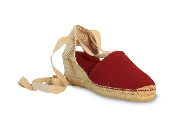 Lace Up Wedge Espadrilles Burgundy Red Wedges Lace Up Etsy