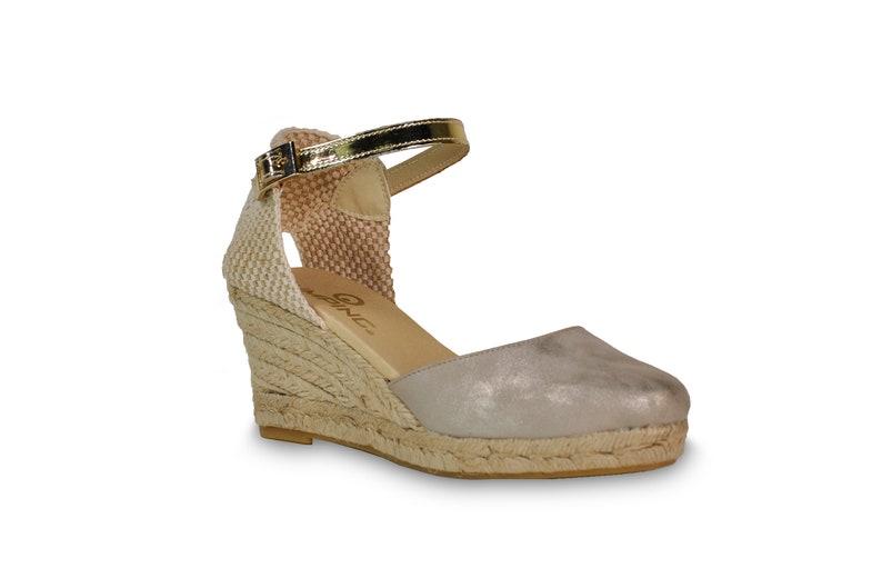 c42efaff25c Wedge sandals silver wedges suede espadrilles wedges